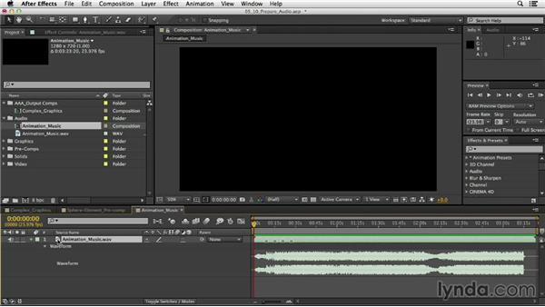 Preparing audio for animation: After Effects CC Essential Training