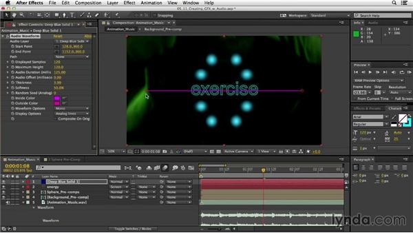 Generating graphics with audio: After Effects CC Essential Training