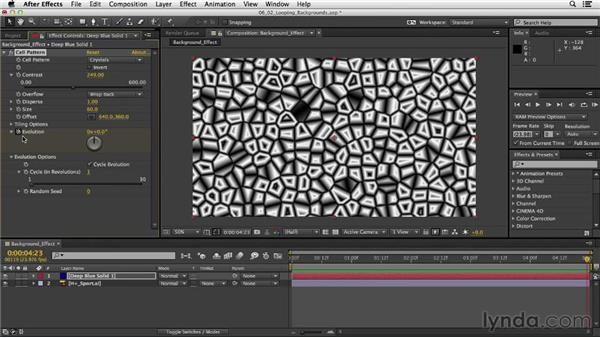 Generating backgrounds with effects: After Effects CC Essential Training