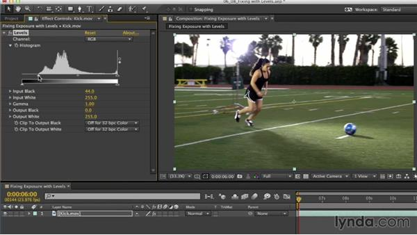 Fixing exposure with Levels: After Effects CC Essential Training