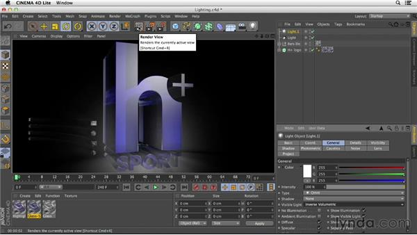 Lighting your scene: After Effects CC Essential Training