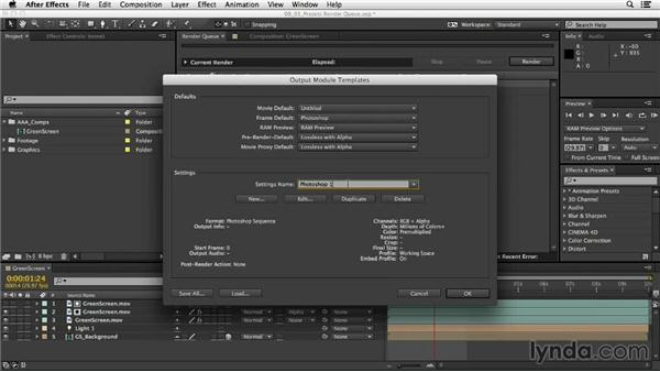 Creating presets in the Render Queue: After Effects CC Essential Training