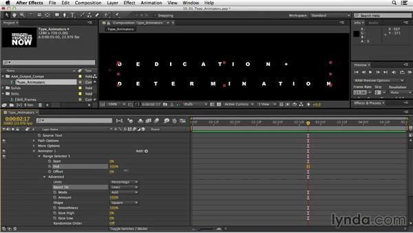 Creating type animators: After Effects CC Essential Training