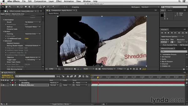 Applying motion with Warp Stabilizer VFX: After Effects CC Essential Training