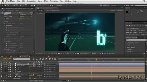 Adjusting speed with Timewarp: Mograph Techniques: Retiming and Tracking Footage
