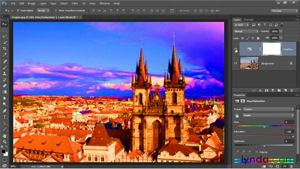 Evaluating with a saturation boost: Up and Running with Color Correction in Photoshop CC