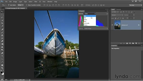 Reading a histogram: Up and Running with Color Correction in Photoshop CC