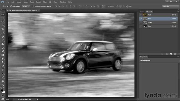 Reviewing color channels: Up and Running with Color Correction in Photoshop CC