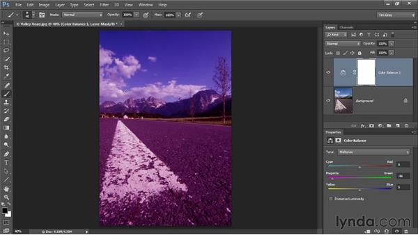 Using an adjustment layer to paint in a correction: Up and Running with Color Correction in Photoshop CC
