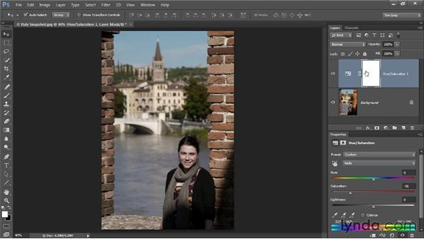 Toning down color in skin: Up and Running with Color Correction in Photoshop CC