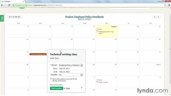 Adding an event to a calendar: Learning Basecamp 2