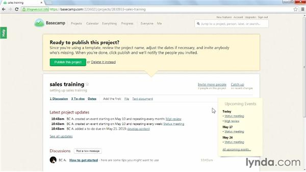 Creating a project from a template: Learning Basecamp 2
