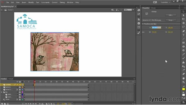 Using frames and keyframes in a project: Up and Running with Flash Professional CC