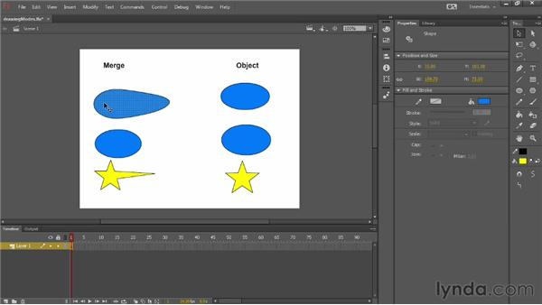 Creating shapes in the Merge and Object Drawing modes: Up and Running with Flash Professional CC