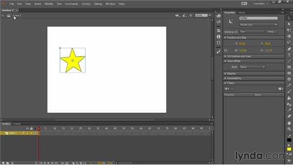 Comparing movie clips and graphic symbols: Up and Running with Flash Professional CC
