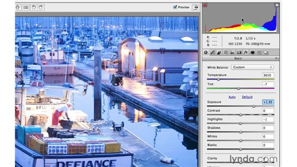 Using the histogram clipping indicators: Photoshop CC for Photographers: Camera Raw 8 Fundamentals