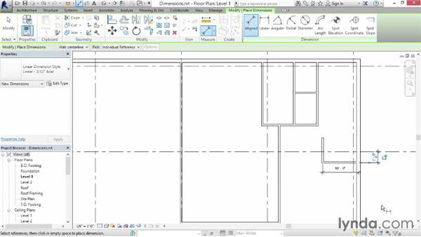Understanding dimensions: Up and Running with Revit