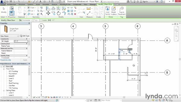 Adding doors and windows: Up and Running with Revit