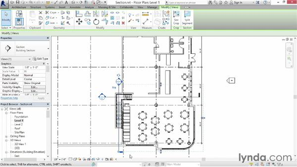 Creating a section: Up and Running with Revit