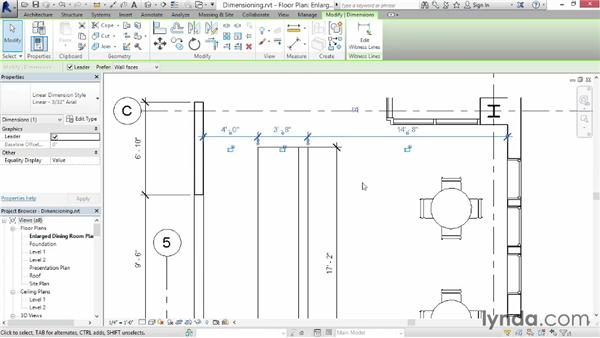 Dimensioning a plan: Up and Running with Revit