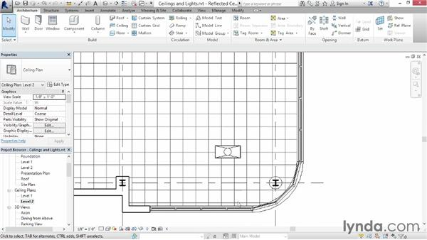 Creating ceilings and lights: Up and Running with Revit