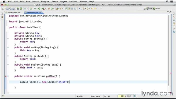 Modeling a data item with a Java class: Building a Note-Taking App for Android (2013)