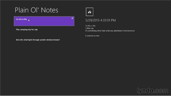 Building the XAML for the Windows Store app: Building a Note-Taking App for Windows Phone 8 and Windows Store
