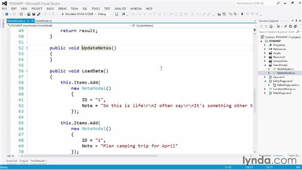 Creating the code behind the class: Building a Note-Taking App for Windows Phone 8 and Windows Store