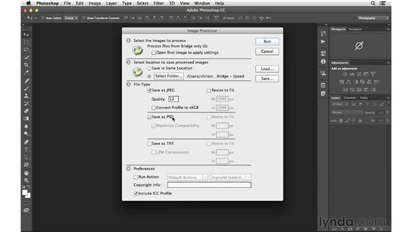 Resizing images quickly with Image Processor: Photoshop CC for Photographers: Intermediate