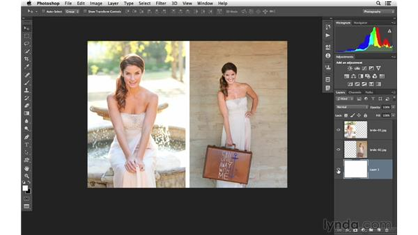 Using layers to create a two-image layout: Photoshop CC for Photographers: Intermediate