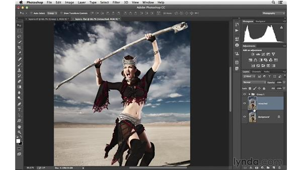 Merging and flattening layers down: Photoshop CC for Photographers: Intermediate