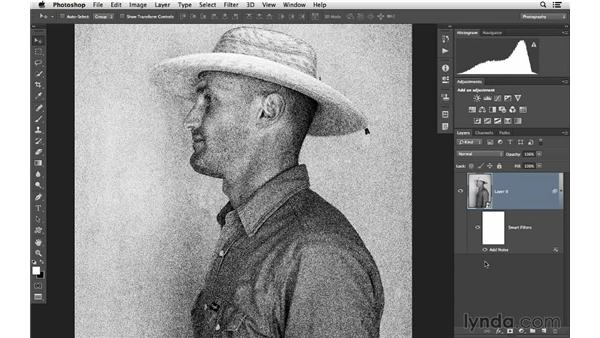Using Smart Filters to add a film-grain effect: Photoshop CC for Photographers: Intermediate
