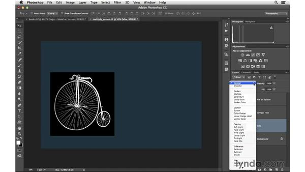 Using blending modes to remove white or black: Photoshop CC for Photographers: Intermediate