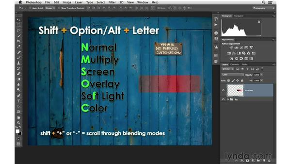 Blending mode shortcuts: Photoshop CC for Photographers: Intermediate