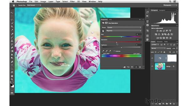 Making complicated color changes easy with Hue/Saturation: Photoshop CC for Photographers: Intermediate