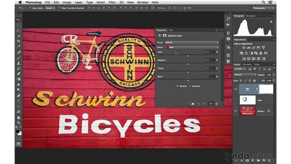 Introducing how to change color with Selective Color: Photoshop CC for Photographers: Intermediate