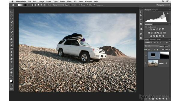 Burning and dodging with gradient tools: Photoshop CC for Photographers: Intermediate
