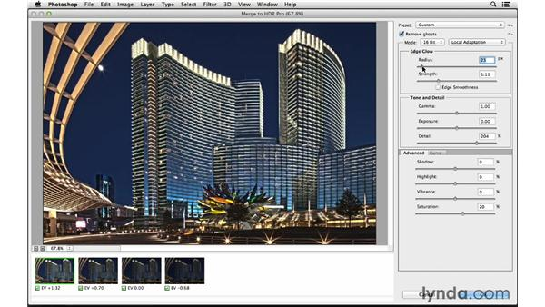 Selecting the files and launching HDR Pro: Photoshop CC for Photographers: Intermediate