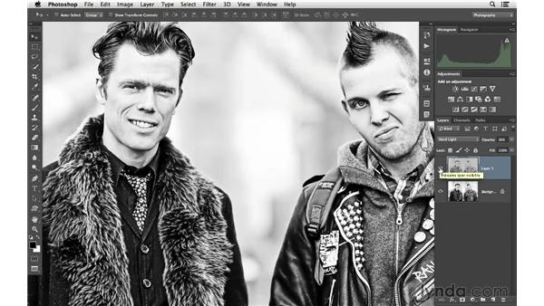Achieving a high-contrast, edgy portrait look: Photoshop CC for Photographers: Intermediate