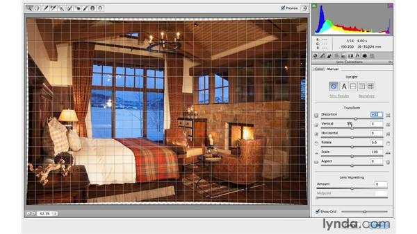 Correcting distortion in an architectural photograph: Photoshop CC for Photographers: Intermediate