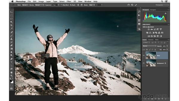 Using Puppet Warp to correct perspective: Photoshop CC for Photographers: Intermediate