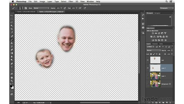 Combining the best expressions in two group photographs: Photoshop CC for Photographers: Intermediate