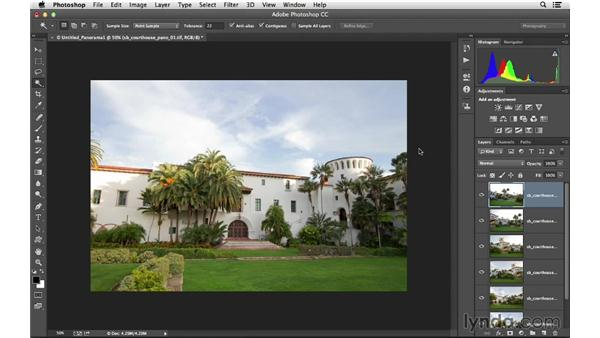 Creating a panoramic photo from multiple frames: Photoshop CC for Photographers: Intermediate