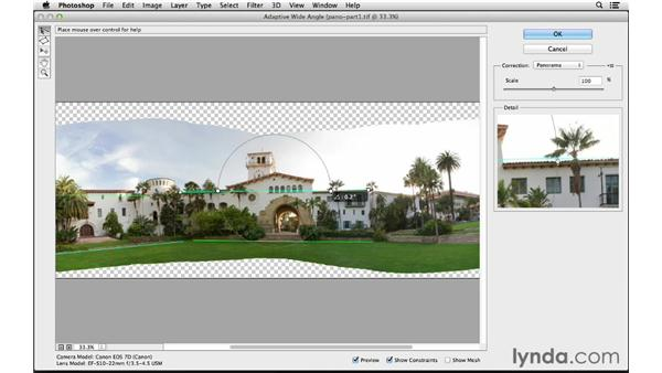 Correcting distortion with the Adaptive Wide Angle filter: Photoshop CC for Photographers: Intermediate