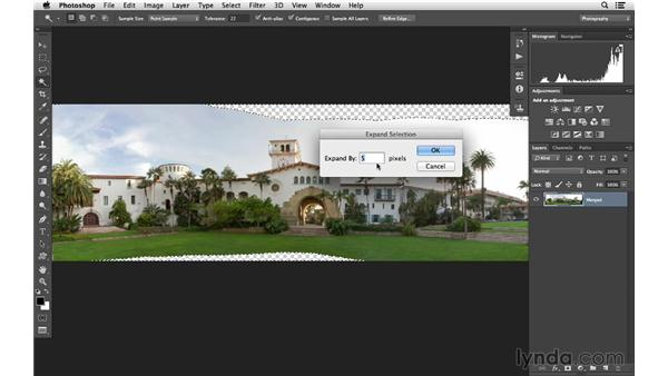 Cropping, filling in the gaps, and making final panoramic adjustments: Photoshop CC for Photographers: Intermediate
