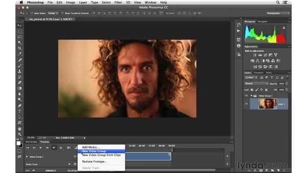 Editing a video clip and adding type: Photoshop CC for Photographers: Intermediate