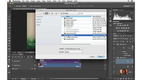 Using adjustment layers and adding an audio track: Photoshop CC for Photographers: Intermediate