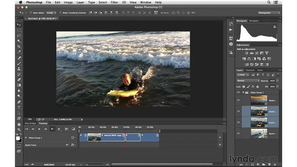Creating a project with multiple clips: Photoshop CC for Photographers: Intermediate