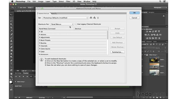 Adding cross-dissolves and fades, and creating custom shortcuts: Photoshop CC for Photographers: Intermediate