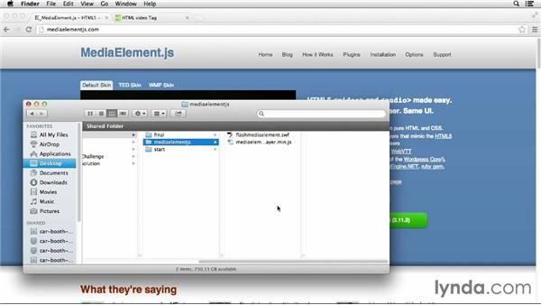 Using MediaElement.js in your presentation: HTML5 Projects: Creating an Advanced Responsive Presentation
